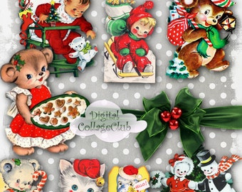 Retro Vintage Christmas Clipart Clip Art Digital Collage Sheet Digitaal Images for Scrapbooking, Decoupage Paper, Card Making