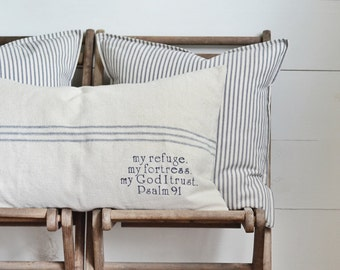 Psalm 91 Grain Sack Pillow Cover, Available in Blue, Brown, and Red