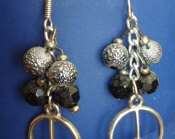 Handmade Black and Silver Peace Dangle Earrings