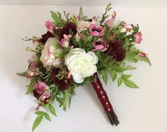 18 piece silk  wedding package bridal bouquet set in burgundy, blush, pink and white with cabbage roses, garden roses and anemones