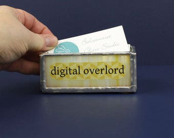 MADE TO ORDER Digital Overlord Glass Business Card Holder, Business Card Organizer, Desktop Accessory, Coworker Gift,Small Storage Container