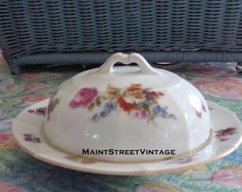 Bavaria Gold Trim Covered  Dish Beautiful Floral Bouquet Decorated