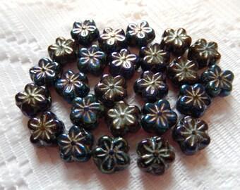 20  Black AB Daisy Flower Disc Czech Glass Flower Beads  8mm