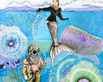 Mermaid Print, Wall Art, Home Decor,  Fine Art Print, Beach, Ocean, Sea Nymph - Antique Deep Sea Diver