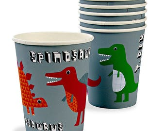 Dinosaur Paper Party Cups, Paper Cups, Dinosaur Party Decorations, Dinosaur party, Dinosaur party decor, 1st birthday party, party cups