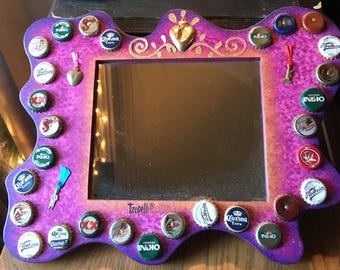 Hand Painted Bottle Cap and Milagro Wooden Frame Mirror, Mexican Handmade Wall Mirror, Mexican Art