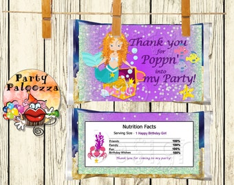 Printable Birthday Mermaid Popcorn Wrapper