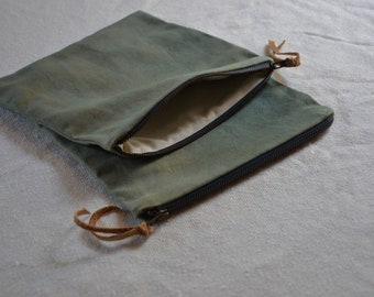 Sage green pouch natural dyes witch moon bag organizer purse zip wallet cosmetics travel makeup earthy boho bohemian style natural cases