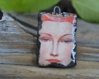 Glamour Girl-  Handmade Porcelain Picture Bead Pendant