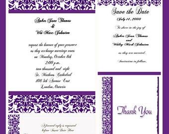 Eggplant Damask  Design Wedding  Invitation Package Editable Download