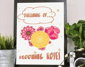 ROSES ART,Garden Art,Roses Art Print,Blooming Flower,Gift for Her,Birthday Gift,Gift for Mom,Gift for Gardener,Downloadable Prints