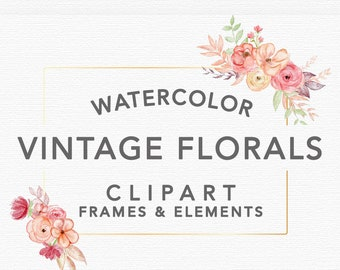 VINTAGE FLORAL WATERCOLOR Graphics, commercial use, muted florals, wedding invitation art, wreaths, gold blush, frames, flower illustrations
