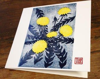 Dandelion card, woodblock print, Japanese, woodcut, art card, printmaking, thank you, birthday card, blank, wood grain, flower