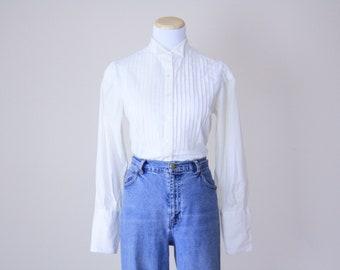 White Vintage Shirt . 1970s Small collar shirt white shirt Edwardian shirt White Shirt Button down shirt White Western Shirt pleated shirt