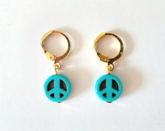 Cute Minimalist Golden Hoop Earrings with Turquoise Peace Beads