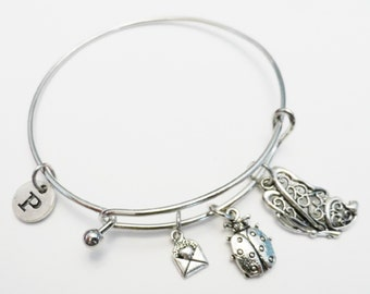 Butterfly Charm Bangle, Butterfly Silver Charm Bracelet, Personalized, Butterfly Jewelry, Initial, Customized, Wire Bangle, Gift Under 20