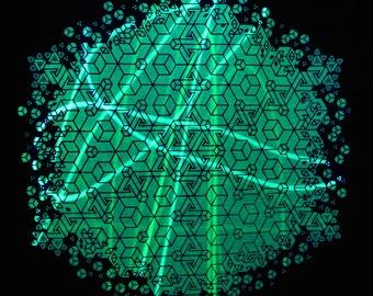 NEW! Light Warrior UV Reactive IsOHMetric Sacred Geometry Tshirt (+ Purple beam laser)