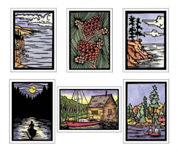 Midwest Collection - 6 Blank Greeting Cards - Rocky Shore, Lake, Canoe at Night, Pinecones, Sailboat, Autumn - Notecards