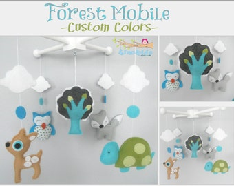 Baby Crib Mobile-Woodland Animals Crib Mobile-Custom Made Mobiles-Forest Animals Mobile-Les Amis Fabric inspired