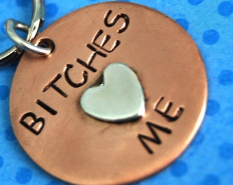 BITCHES LOVE ME pet id tag - info on the back