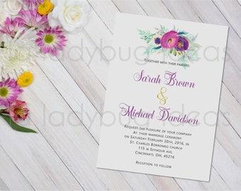 Invitación boda. Morado y blanco. Para imprimir. Printable Wedding Invitation in Spanish. Invitación boda para imprimir. Invitación digital.