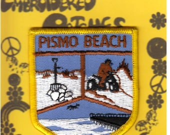 Travel Patch, Pismo Beach, Embroidered, Badge Shaped, Patch, San Luis Obispo County, Central Coast, Souvenir, Unused, Sew On Patch, NOS
