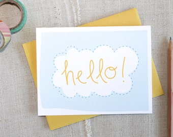 Hello! Cloud Hand Lettered Note Card / Anytime Blank Note Card / Modern Stationery / Just Because Card / Any Occasion Note Card