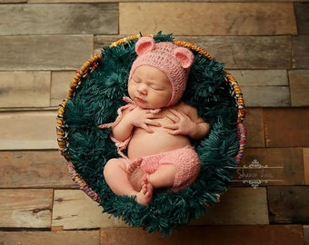 Pink Mohair Teddy Bear Hat and Shorts Set Newborn Baby Photography Prop