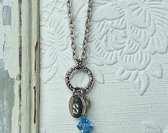 Aquamarine necklace, Aquamarine birthstone jewelry, March birthstone necklace, swarovski crystal necklace, personalized initial necklace