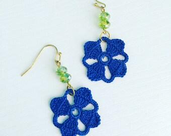 Nora Crochet Earrings in Cobalt Blue, Lace Doily Earrings, Bridesmaid Gift, Dangle Earrings, Blue Flower Jewelry, Gift Under 50, Green Beads