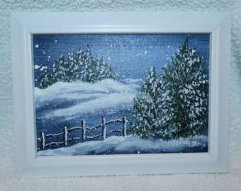 Vintage 1975 Oil Painting Winter Snow Scene, Country Road, Fence, Pine Tree, Christmas Eve Snow, Sweet winter snow painting