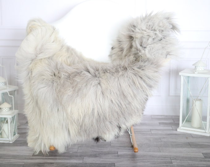Sheepskin Rug | Real Sheepskin Rug | Shaggy Rug | Chair Cover | Sheepskin Throw | Gray Beige Sheepskin | Home Decor | #HERMAJ70