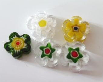 "5 millefiori flowers 13 mm ""assortment8"""