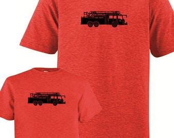 Matching Father Son Shirts, Fire Truck Fireman Engine T shirts, Fathers Day gift idea, new dad shirt, father daughter, gift for dad from son