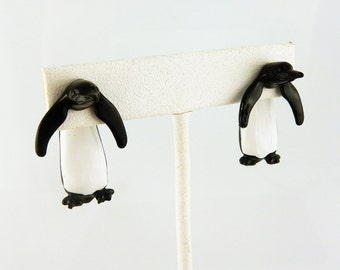 Vintage Hand painted 3D Penguin EARlusion earrings