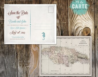 Jamaica Nautical Beach Destination Wedding Save the Date postcard Destination wedding invitation vintage map DEPOSIT PAYMENT