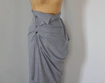 Gray High Waisted Drape Skirt