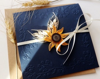 Sunflower and wheat wedding invitation/Handmade sunflower wedding invitation/Country invitation/Navy blue invite/Rustic wedding invitation