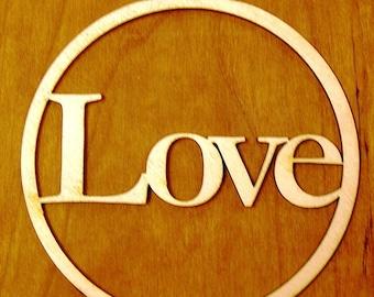 "Monogram Ornament 4"" Wood Love"