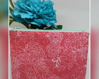 Coral floral and mint bright makeup bag / flat zipper pouch / cosmetic bag