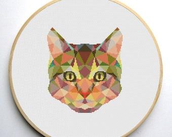 Geometric Cat Cross Stitch Pattern PDF Instant Download