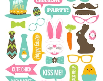 Easter Photo Booth Props Collection - Printable Instant Download - Party Decor - DIY Easter Photo Props - Easter Party Ideas - Bunny - Chick
