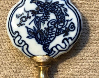 Blue and White Chinese Lamp Finial