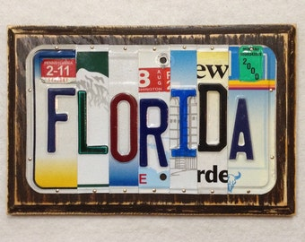 Florida Made to Order License Plate Art Sign Florida State Birthday Anniversary Fathers Day Unique One of a kind Gift