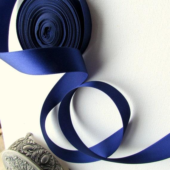 5 yds Royal blue satin ribbon, Silky cobalt blue ribbon 20mm. Satin blue ribbon. UK Seller