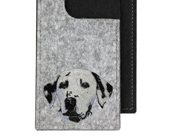 Dalmatian - A felt phone case with an embroidered image of a dog.