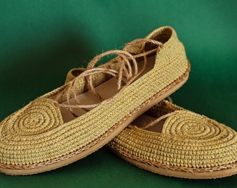Crochet Yonka shoes by ChePick Art. Vegan handmade shoes in mustard color. Natural materials and comfortable design. Flat shoes.