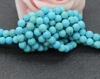 40 PG231 4 mm turquoise dyed howlite stone round beads
