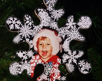 Snowflake Photo Wooden Christmas Ornament