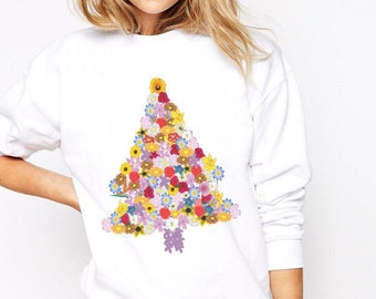 Flower Christmas Tree Women's Sweatshirt Tumblr Tacky Jumper, Ugly Christmas Sweater, Cute Xmas Sweater, Fleece Pullover, Made in USA